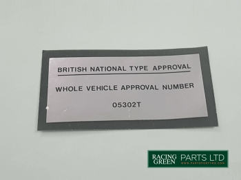 TVR 025U 145A - Decal type approval