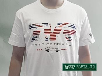 "TVR TSH 5 L - T-Shirt, White -  ""Spirit of Driving"" with TVR logo"