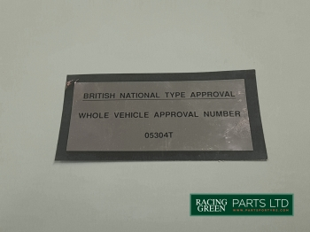 TVR V0147 - Decal type approval
